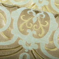 Rioverde Upholstery Fabric in Bayberry Blue - Rioverde Upholstery Fabric in Bayberry Blue is a blue and gold scroll print silk and linen blend ideal for light upholstering projects or decorative pillows. Bold and dramatic, this fabric will add a great touch to your interior design. Made with 58% silk and 42% linen with a width of 57″ and a repeat of 10-1/8″ vertical and 14-3/8″ horizontal. Cleaning code: S. CA Bulletin 117 – Class 1 or A (Flame Retardant). Passes Wyzenbeek 6,000 Double Rub Wear Test (Light Duty).