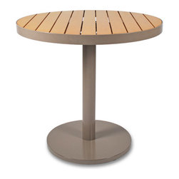 Thos. Baker - cafe 30-inch round table (taupe w/ teak ROM) - Our cafe collection tables feature powder-coated aluminum frames with high-tech recycled outdoor material (ROM) slats. a thos. baker exclusive in the US, ROM is the most natural looking recycled furniture material in the world today with a proprietary finishing process that seals and protects its authentic look.
