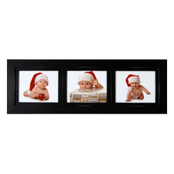 """MyBarnwoodFrames - Collage Picture Frame 8x10 Wood Frame with 3 Landscape Openings - A collage picture frame with 3 landscape 8x10 photo openings. Painted wood, available in several designer colors. Three frames in one, this multi-opening frame allows side-by-side display of three different 8x10 images. Display pictures of friends, family or special events. Solid wood, superb construction, with lightly distressed edges. Measures 13""""H x 38""""W x .75""""D overall with a frame width of 2.75 inches. This triple picture frame in landscape layout is made in the USA and includes glass, backing and hanging hardware. Can be hung horizontally or vertically."""