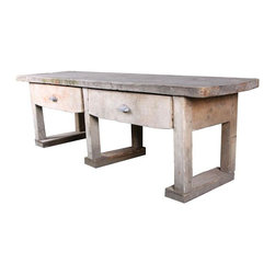 French Garden Table - This primitive style garden table is from 1890's France. It's large and very sturdy, with two operable drawers with metal drawer pulls. Take note of the lovely dovetail joints.