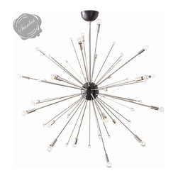 Large Modern Sputnik Light Fixture 42 inch Diameter - Mid Century Modern Sputnik Light Fixture from Stardust - Large Size. Impressive and futuristic, this large chandelier provides a bold accent for a modern décor. When lit, the mid century modern sputnik chandeliers look like starburst shaped constellations with sparkly moons and satellites spraying out in all directions.