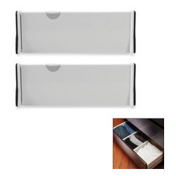 "Oxo - OXO Expandable Drawer Organizer (Set of 2) - These unique drawer dividers allow easy, no tool installation with the simple push of a button. The sturdy dividers expand from 11"" to 17"" and measures 4"" high."