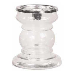 """Oddity - Oddity 4.5"""" x 5"""" Hollow Pillar Candle Holder Pack 2 - - Two-piece glass allows you to remove the top for more decorating options."""