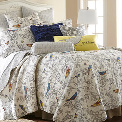 Levtex Home - Gray Mockingbird Quilt Set - Bring beauty to the bedroom using this lovely patterned quilt set, which is made from cushy, machine-washable cotton for easy cleaning.   Includes quilt and two shams (twin sizes include one sham) 100% cotton Machine wash; tumble dry Imported