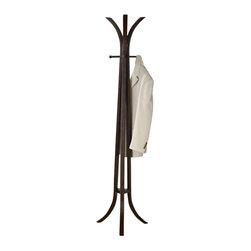 Adarn Inc. - Clean Lines Cappuccino Coat Hat Rack Wood Hanger Hall Tree Stand Symmetrical - Complete the functionality of your living room with the contemporary lines and plentiful hanging room offered by this wood coat rack. Simple posts on the top offer stylish coat, mitten and hat storage and make organizing your living room or entryway an easy task. A uniquely shaped wood top is echoed on the base for a balanced and symmetrical finish.
