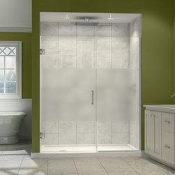DreamLine - DreamLine SHDR-244207210-HFR-06 Unidoor Plus Shower Door - DreamLine Unidoor Plus 42 to 42-1/2 in. W x 72 in. H Hinged Shower Door, Half Frosted Glass Door, Oil Rubbed Bronze Finish Hardware