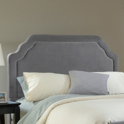 Hillsdale - Carlyle Upholstered Headboard - The Carlyle headboard is both fashionable and comfortable. The impressivley, large headboard is complimented by nail-head trim and scalloped edges. The fabric covered side rails and footboard continue the soft, luxurious theme. The Carlyle bed is a fantastic addition to any home. Features: -Upholstered in 100% Polyester velvet like fabric.-Distressed: No.-Drill Holes for Frame: Yes.Dimensions: -Queen: 58'' H x 64.5'' W x 3.5'' D.-King: 58'' H x 80.5'' W x 3.5'' D.