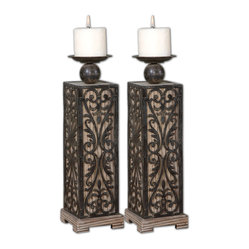 Abelardo Wood Candleholders, Set of 2