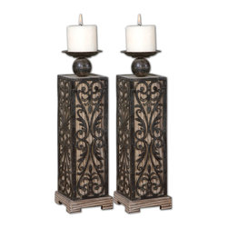 Uttermost - Abelardo Wood Candleholders, Set of 2 - Add instant romance to any room with this handsome pair of candleholders. Made from natural fir with wrought iron detailing, these fine candleholders come with distressed beige candles.