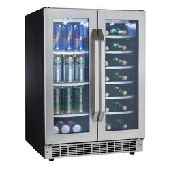 Danby - 5.3 CuFt Built-In Beverage Ctr, 27 wine bottles, 60 bev cans Silhouette - The Danby DBC7070BLSST 5.3 Cu. Ft. Silhouette French Door Beverage Center is partitioned to provide separate storage for up to 27 bottles of wine and 60 12-oz. cans. Precise digital thermostat with LED display allows the temperature to be accurately set and then monitored through the door. A frost-free, fan-forced cooling system combined with the digital thermostat provides a more consistent internal temperature than an automatic defrost system in this Danby beverage center. The tinted, tempered glass doors help protect wine from harmful UV rays, while white LED track lighting beautifully illuminates the interior without the heat created by an incandescent bulb.5.3 cu ft capacity French door beverage center|Holds approximately 60 beverage cans and 27 bottles of wine|The temperature range can be set between 39��F - 64��F (4��C - 18��C)|Elegant tempered glass shelves with stainless steel trim (on beverage can side)|White LED track lighting beautifully illuminates the interior without the heat created by an incandescent bulb|Precise digital thermostat with LED display allows the temperature to be accurately set and monitored through the doors|Frost-free, fan forced cooling system provides a more consistent internal temperature than an automatic defrost|Seamless stamped stainless steel doors with matching handles and toe-kick|LOW E glass door helps protect wine from harmful UV rays and maintains a more consistent internal temperature|  danby| dbc7070blsst| 5.3cf| 5.3| cu.| ft.| cu| ft| silhouette| select| beverage| center| can| cans| storage| french| door| wine| cooler| chiller| all|  Package Contents: beverage center|manual|warranty  This item cannot be shipped to APO/FPO addresses