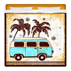 """Eco Friendly """"Surf Bus"""" KIng Size Surfer Beach Sheet Set - Our King Size Surf Bus Sheet Set is made of a lightweight microfiber for the ultimate experience in softness~ extremely breathable!"""