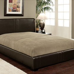 Abbyson Living - Abbyson Living Malibu Dark Brown Bi-cast Leather Full-size Bed - This bi-cast faux-leather full-sized bed is made of solid wood,and it features rich,dark brown upholstery that looks great in any bedroom. It is fully ready for your mattress as it is built with slats and does not require a box spring.
