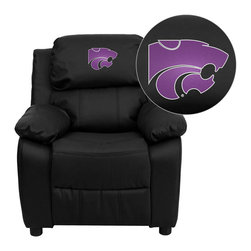 "Flash Furniture - Kansas State University Wildcats Black Leather Kids Recliner with Storage Arms - Get young kids in the college spirit with this embroidered college recliner. Kids will now be able to enjoy the comfort that adults experience with a comfortable recliner that was made just for them! This chair features a strong wood frame with soft foam and then enveloped in durable leather upholstery for your active child. This petite sized recliner features storage arms so kids can store items away and retrieve at their convenience. Kansas State University Embroidered Kids Recliner; Embroidered Applique on Headrest; Overstuffed Padding for Comfort; Easy to Clean Upholstery with Damp Cloth; Flip-Up Storage Arms; Storage Arm Size: 3.25""W x 6""D x 11""H; Solid Hardwood Frame; Raised Black Plastic Feet; Intended use for Children Ages 3-9; 90 lb. Weight Limit; Black LeatherSoft Upholstery; LeatherSoft is leather and polyurethane for added Softness and Durability; CA117 Fire Retardant Foam; Safety Feature: Will not recline unless child is in seated position and pulls ottoman 1"" out and then reclines; Overall dimensions: 25""W x 26"" - 39""D x 28""H"