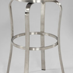 Chintaly Imports - Modern Backless Bar Stool in Brushed Stainless Steel - This is a modern style bar stool with retro looks. It has a brushed stainless steel frame. It comes in Red or White PU cushioned button style seat. You can choose Bar stool height or Counter stool height.