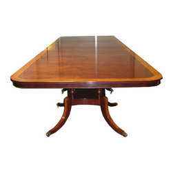 "Triple Pedestal Dining Table - Triple Pedestal Dining Table.  Made in England.  Shown in mahogany with yew wood banding.  Also available in burr oak, walnut.  Table measures 180""w 60""d 30""h. Custom sizes available."