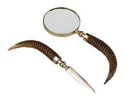 AA Importing - Unique Magnifying Glass & Letter Opener Set - Curved wood handles add an exotic look to this desk set. A magnifying glass and letter opener are traditional touches that any executive will appreciate. Gleaming brass finishes on the blade and magnifier frame are classic components. This is an excellent gift choice. Set includes magnifying glass and letter opener. Wooden handles, each turned and curved to resemble a horn. Gleaming brass finish frame. Magnifier: 11 in. L x 4 in. Dia.. Opener: 10 in. LWooden handles, each turned and curved to resemble a horn, accent this unique desk set. The letter opener and magnifier frame feature a gleaming brass finish. Your customers will find plenty of ways to spruce up that office or work area with this appealing and useful set.
