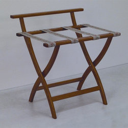 "Wooden Mallet - Luggage Rack w Tapestry Webbing in Medium Oak - Our unique ""Wall Saver"" feature prevents costly wall damage. Has multiple uses when it doubles as a breakfast tray holder or blanket stand. Folds flat and is easily stored in a closet or against a wall when not in use. Four 2 in. woven straps support heavy suitcases. Graceful, curved legs add a designer flair. Rated to hold suitcases up to 100 lbs.. Built using solid oak construction and state-of-the-art finish for heavy use and lasting beauty.  Made in the USA. No assembly required. All Wooden Mallet products are warranted for 1 year against defects in materials and workmanship. Overall: 29.5 in. L x 23.75 in. W x 18 in. H (7 lbs.). Open: 29.5 in. L x 23.75 in. W x 18 in. H. Closed: 29.5 in. L x 23.75 in. W x 4.5 in. HGive your guest room the feeling of a four star hotel with this beautiful luggage rack. Built using solid oak and sturdy webbing, even the heaviest suitcases are easily supported by the four 2 in. wide woven straps. Our unique ""Wall Saver"" feature prevents costly wall damage. This luggage rack has multiple uses when it doubles as a breakfast tray holder or blanket stand. These luggage racks fold and unfold easily. Take it out for guests, and then fold it up for easy storage. It is also a great in the master bedroom for packing suitcases for business trips or vacations."