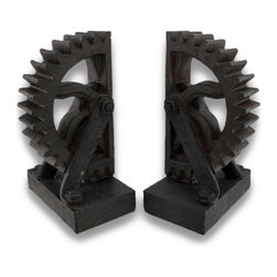 Zeckos - Steampunk Gear Wheel Cog Bookends Set of 2 - Inspired by the beauty of simple machines from the industrial revolution, this unique set of 3-dimensional gearwheel bookends are a beautiful functional piece of artwork as well. They would look amazing in an office to keep your important books within easy reach or in your home to proudly display your favorite written works. Made of cold cast resin, they have been carefully hand-painted in a handsome rust finish that really makes them look vintage, and each bookend stands 7 inches high (18 cm), 3 inches long (8 cm), and 4 1/2 inches wide (11 cm). This set of bookends would make a wonderful gift for any steampunk or industrial and mechanical fans.