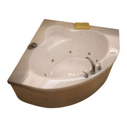 Spa World Corp - Atlantis Tubs 6060AWR Alexandria 60x60x23 Inch Corner Whirlpool Jetted Bathtub - The Alexandria bathtub collection features a series of corner oval-opening bathtubs, easily fitting two adults. Molded-in seat is strategically placed across the tub filler to ensure luxury and comfort. Whirlpool tubs feature jets and recirculating pumps to supply a hydro-therapeutic experience. Whirlpool tubs are designed to provide a more vigorous and comforting massage with jets positioned to direct warm water to areas like the lower and upper back, shoulders and legs. The Atlantis whirlpool hydro therapy configuration consists of symmetrically-allocated, 360� direction-adjustable water jets. System control is located on the entrance side panel, allowing bathers to turn water streams on and off. Drop-in tubs have a finished rim designed to drop into a deck or custom surround. They can be installed in a variety of ways like corners, peninsulas, islands, recesses or sunk into the floor. A drop in bath is supported from below and has a self rimming edge that is designed to sit over a frame topped with a tile or other water resistant material. The trim for the air or water jets is featured in white to color match the tub.