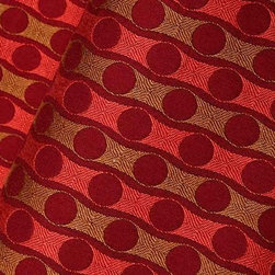 Chateau Striped Upholstery Fabric in Ruby Red - Chateau Striped Upholstery Fabric in Ruby Red has an orange and red geometric pattern with alternating gold and orange stripes. This bright modern fabric is ideal for upholstering ottomans and chairs, or for creating unique eye-catching accent pillows. Made in the USA from a blend of 33% polyester, 33% cotton, and 34% Rayon. This upholstery fabric passes 30,000 double rubs on the Wyzenbeek Abrasion Test. Passes CA117 Test, NFPA 260 Width 54″; Repeat: 1.31″ H X 1.39″V