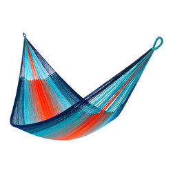 Yellow Leaf Hammocks - 'Kilauea' Hammock, Family-Size (Cap.550lbs) - Family-Size | Inspired by the molten lava and blue seas of Hawaii's Mt. Kilauea Volcano, this cobalt blue, peacock blue, and blaze orange Hammock is 100% handcrafted by artisan weavers for maximum comfort.