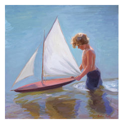 'A Boy & His Sailboat' Framed Oil Painting - Little boy blue. Sweetly serene, this original figurative painting by Arthur Egeli will grace your walls with its simplistic style. It has a gilded wood frame for a traditional touch.
