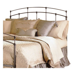 Fashion Bed - Fashion Bed Fenton Metal Headboard in Black Walnut Finish-Queen - Fashion Bed - Headboards - B45755 - The Fenton Headboard displays architectural design detail in it's arches being offset by vertical spindles reminiscent of more traditional styles. The double arch is made even more distinctive by the staggered placement of the spindles each with its own finial.