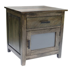 YOSEMITE HOME DECOR - 1 Door 1 Drawer Charcoal Green - This simple but stylish solid mango accent cabinet features a charcoal/green finsh. The  glass panel door and the upper drawer provide additional storage space. The aged metal hardware adds a finishing touch to the cabinet. Assembled, made in India.