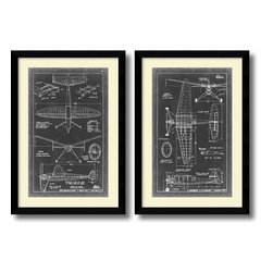Amanti Art - Vision Studio 'Aeronautic Blueprint III & IV' Framed Art Prints, Set of 2 - These old style airplane blueprints make a great compliment to a den or office for the aeronautical enthusiast or fans of technical drafting.