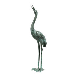 EttansPalace - Asian Lost Bronze Sculpture / Statue / Fountain Bird Crane - Medium (Kitchen) - Symbolize peace. Cast in the traditional lost wax bronze method and piped for fountain use. Like those seen in traditional English gardens, these Asian symbols of peace are lifelike, lost wax bronze statues with a verdigris patina. In a medium perfect for showcasing their graceful legs and exquisite, elongated necks, they are elegant in an entryway, a field of irises or a pond, and are piped for optional fountain use. These unparalleled sculptures cause their light local Garden Shop aluminum cousins to pale in comparison. Choose from among three scaled sizes for your landscape or decor.