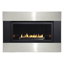 Empire Comfort - Loft Series Small Direct Vent Intermittent Pilot Fireplace, Black and Stainless - Designed for in-wall or mantel installation, Loft fireplaces feature state-of-the-art technology for extraordinary performance. Flickering yellow flames dance atop the linear burner reflecting light off the glass and the porcelain liner to create a nearly infinite flame effect - making your Loft fireplace mesmerizing from any angle.