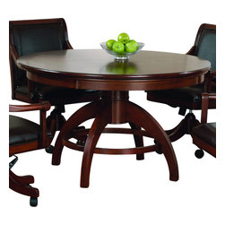 Hillsdale Furniture - Hillsdale Palm Springs Game Table - Add panache to your game room with Hillsdale Furniture's Palm Springs game table and chairs. Finished in a medium brown cherry with brown leather seat cushions, this set combines comfort with casual living and functionality. With a transitional half sphere base and a clean rectangle chair back chair with arms, this multi-function table offers a dining surface on one side, a leather topped game surface on the other, as well as storage, checkers and backgammon game surfaces underneath the top. Composed of solid woods, climate controlled wood composites, and veneers, this ensemble can find a home in your game room, den, or kitchen. Complete your game room decor with the matching bistro table and barstools.