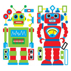 York Wallcoverings - Build Your Own Robot Self-Stick Wall Accent Stickers Set - FEATURES: