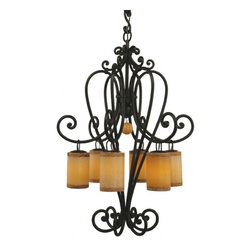 """Santangelo Lighting - 6 Light Campana Chandelier - 6 Light Campana Chandelier. Dimensions: 28.5""""DIA X 42""""H, Lights: 6, Finish: Bronze, Tiers: 1, Bulbs: Uses Up To 60 Watt Bulbs (Not Included), Light Covers: Choice of Amber or White Onyx, Chain: Comes with 2Ft Chain, Weight: 80 LBS, Lead Time: Custom Order 2 - 4 Weeks; UL Approved"""