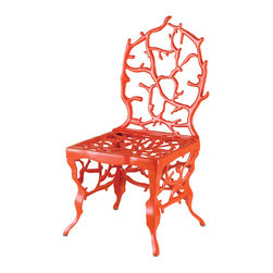 Currey & Co - Currey & Co 4149 Corail Red Chair - This eye-catching chair brings the mystery of the sea to your home. With a unique coral-like design, the chair is as much a piece of art as it is functional. Created in cast aluminum, the seat is finished with a powder coat in bright red. The high quality finish protects the metal from weather, making the Currey & Co 4149 Corail Red Chair ideal for both indoor and outdoor use.