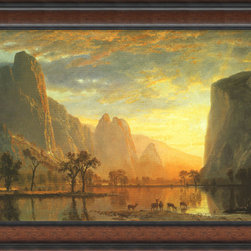 Amanti Art - Valley of the Yosemite, 1864 Framed Print by Albert Bierstadt - Bring color and light to any room you decide to hang this luminous print by Albert Bierstadt. Depicting a Yosemite valley in all its splendor, its dark walnut frame enhances the artwork's dramatic hues of orange, gold and its darker undertones.