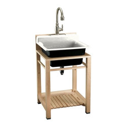 "KOHLER - KOHLER K-6608-3P-0 Bayview Wood Stand Utility Sink with Three-Hole Faucet Drilli - KOHLER K-6608-3P-0 Bayview Wood Stand Utility Sink with Three-Hole Faucet Drilling on Top of Backsplash in WhiteThe Bayview single-basin utility sink is ideal for the hardest working rooms of the home, and offers versatile installation and faucet options. This model features durable KOHLER Cast Iron construction, a three-hole faucet drilling on the front of the integrated backsplash, and a generous 11"" basin depth.Please see our Delivery Notes for Freight Shipments for products that are oversized and/or are too heavy to ship UPS ground. KOHLER K-6608-3P-0 Bayview Wood Stand Utility Sink with Three-Hole Faucet Drilling on Top of Backsplash in White, Features:• Single-basin utility sink with installation and faucet options"