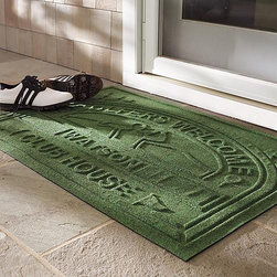Frontgate - WATER & DIRT SHIELD ™ Personalized Golf Country Club Mat - Polypropylene construction. Absorbs and holds water. Raised texture scrapes off mud. Rubber backing for traction. Suitable for all floor types. This ultra-absorbent WATER & DIRT SHIELD ™ Country Club Mat welcomes fellow golfers to your own personal clubhouse. It traps and holds up to a gallon of water per square yard, while the course texture and raised design scrapes mud and dirt off of shoes to keep floors clean and dry.. . . . . Cleans easily with any garden hose. Personalize it with up to 10 characters. Made in the USA. Note: Do not place on wet floors. Please note, personalized items are nonreturnable.