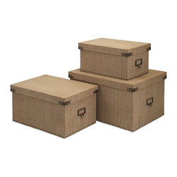 "IMAX - Corbin Storage Boxes - Set of 3 - A trio of burlap covered storage boxes is studded with metal nail heads and accents for an industrial look with natural masculine style. Dimensions(6.5-7.75-9.5""h x 8-10-12""w x 13.25-15.25-17.25"")"