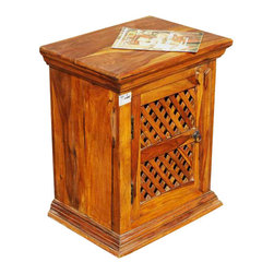 Wood Night Stand Bed Side Table Kitchen Storage Cabinet - Simple Solid Indian Rosewood Night Stand with wooden lattice door which covered 2 storage shelves.