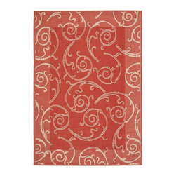 Safavieh - Geometric Red/ Natural Indoor/ Outdoor Rug (2'7 x 5') - Perfect for any backyard,patio,deck or along the pool,this rug is great for outdoor use as well as any indoor use that requires an easy to maintain rug. This rug has a Red background and displays stunning panel color of Natural.