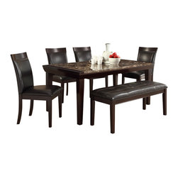Homelegance - Homelegance Thurston 6-Piece Faux Marble Dining Room Set in Espresso - A natural selection for your transitional home, the Thurston collection will compliment your lifestyle. The diamond pattern of the faux marble is set within a bold wood frame. With dark brown bi-cast vinyl seating and espresso finish to compliment it all, this dining collection will be a welcome addition to your home.