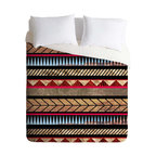 """Modern 100% polyester Duvet Cover, King 104"""" X 86 - Aztec designs overlay a stunning outdoor landscape on this fetching duvet cover. If you can't sleep under the stars, this is as close as it gets."""