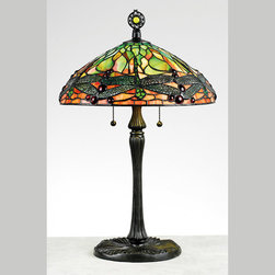 Quoizel - Quoizel TF6784VB Tiffany 2 Light Table Lamps in Vintage Bronze - Long Description: This lamp is a twist on one of L.C. Tiffany Studio's most popular designs. The Dragonfly design is most often attributed to Clara Driscoll, one of the first female artisans employed by L.C. Tiffany. It was first introduced in 1899, then used in several variations through 1913. The timeless beauty of the natural world is captured in bright greens and oranges, with lacy, filigree-winged dragonflies as the imagery focus. It is a fine example of true Art Nouveau style.