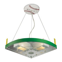 Elk Lighting - White / Green Two Light Baseball Pendant from the Novelty Collection - Baseball Field Novelty Pendant