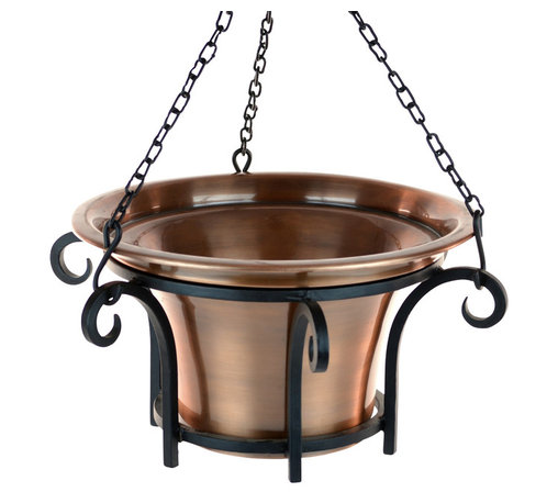 H Potter - Hanging Planter - Forget those plastic nursery pots. Your fucshias will look more fabulous, your petunias more pretty, your begonias more beguiling with this hanging planter. The flourishing frame is made of black iron and holds a weather-resistant aluminum planter finished in antique copper.