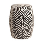 Kathy Kuo Home - Modern Zebra Print Ceramic Garden Seat Stool - Traditionally used in China as tea tables- these garden stools make a perfect addition to your living space as side tables, or clustered together to be used as a coffee table.  Glazes are triple fired for added luster and shine.  With a hand made product, glaze variations of up to 10% is to be expected.