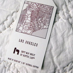 Haptic Lab - Soft-Map City Quilt, Los Angeles - Like falling asleep on the wings of angels, this soft quilt is sure to produce sweet dreams. It features an intricate street map of Los Angeles, hand-stitched on 100 percent fair trade cotton. It's like getting a piece of your favorite city without the traffic.