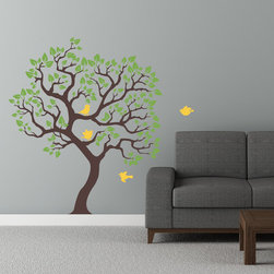 Cherry Walls - Tree of Paradise Wall Decal - Bring a little bit of nature indoors to add a fresh pop to your home decor. With this majestic tree decal, you can have all the pleasure of lush leaves and twisting branches without ever having to water an indoor plant. Little birds add a touch of whimsy to the contemporary design, just right for sprucing up a bare wall in your den or office.
