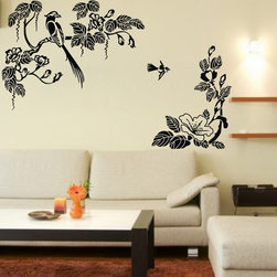 ColorfulHall Co., LTD - Vinyl Wall Decals Large Vinyl Tree Branch Wall Decals with Lucky Bird Flower - Vinyl Wall Decals Large Vinyl Tree Branch Wall Decals with Lucky Bird Flower